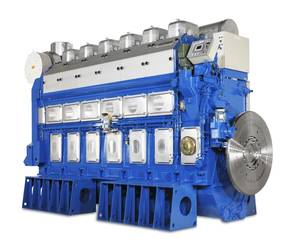 A six-cylinder in-line version of the Wärtsilä 50DF dual-fuel engine. (Image: Wärtsilä)