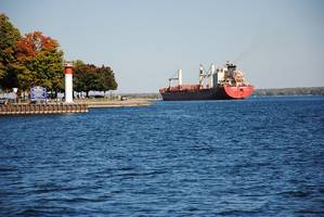 The ocean-going vessel Federal Mackinac sails on the St. Lawrence Seaway this autumn. Photo Credit: The St. Lawrence Seaway Management Corporation