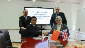 From right to left: Andrew Marshall, CEO Coldharbour Marine Ltd (seated) and Graham Cole CBE, Chairman, Coldharbour Marine Ltd (standing). On the left, Jason Lee, General Manager, Hansun (Shanghai) Marine Technology (seated) and Simon Gu, Chairman, Hansun (Shanghai) Marine Technology (Photo: Coldharbour Marine)