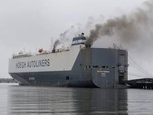 A fire broke out on board the 600-foot vehicle carrier Hoegh Xiamen, at Blount Island in Jacksonville, Fla. (U.S. Coast Guard photo by Jessica Maldonado Gonzalez)