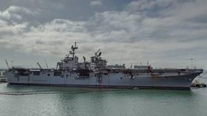 Fire damage is visible aboard amphibious assault ship USS Bonhomme Richard (LHD 6) at Naval Base San Diego. (U.S. Navy photo by Jason Waite)