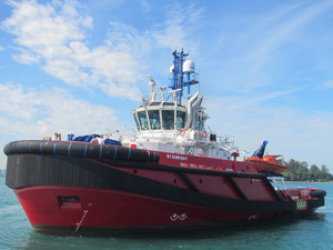RT Kuri Bay - one of the three vessels used by KOTUG to serve the Shell Prelude facility (Photo courtesy of Inmarsat)