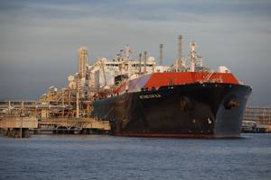 BG Groups Methane Kari Elin delivers the first consignment of LNG to Singapores SLNG terminal. (Photo courtesy BG Group)