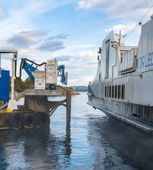 Wärtsiläs wireless charging system is the first in the world to operate successfully with a coastal ferry.  (Photo: Wärtsilä)