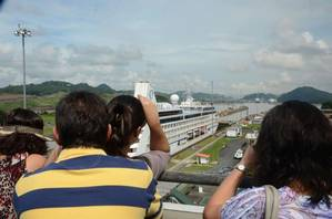 File Image: a cruise liner passes through the Panama Canal.