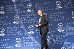 Nils Andersen delivers the closing keynote at the Danish Maritime Forum on October 8 in Copenhagen as part of the weeklong Danish Maritime Days. (Photo courtesy of Danish Maritime Days)