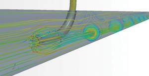 Figure 1:  CFD simulates mixing of two  fluids in a pipe for type approval.