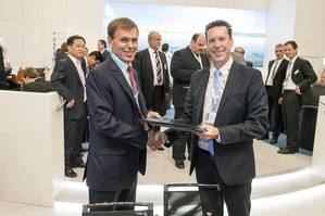 At the SMM in Hamburg Tor E. Svensen, CEO of DNV GL Maritime and Nick Topham, MD of Ahrenkiel Steamship signed a cooperation agreement to consolidate Ahrenkiel Steamship's entire fleet at DNV GL.