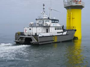 Pictured is Alicat, South Boats IOW 26m Wind Farm Support Vessel operated by Seacat Services.