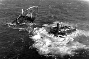 MV Argo Merchant was a Liberian-flagged oil tanker that ran aground and sank southeast of Nantucket Island, Mass., on Dec. 15, 1976, causing one of the largest marine oil spills in history. U.S. Coast Guard Archives