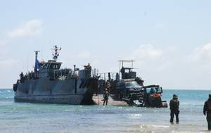 As part of the European Union's efforts to enhance regional states' maritime security capabilities in the Horn of Africa, on 15 March EUCAP Nestor gave six Nissan 4x4 veh (Photo: EU)