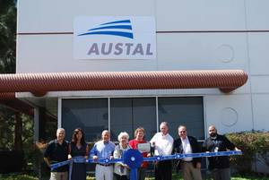 Left to Right:  David Walden (Austal - Homeport Manager), Annabel Walden, Adm. Jose Betancourt (USN – Ret.), Councilwoman Pamela Bensoussan (City of Chula Vista), Mayor Cheryl Cox (City of Chula Vista), Tim Mahoney (Austal USA – VP Post Delivery Service & Support), Dir. Economic Development Michael Meacham (City of Chula Vista), and Ronald Delaney (Austal - Service Warranty Engineer)