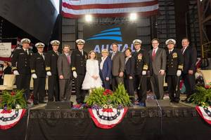 Ship's sponsor, Mrs Kathy Taylor, former Mayor and current Chief of Economic Development for the City of Tulsa, Oklahoma, was joined by Austal USA President Craig Perciavalle and officers from the US Navy for the christening of the future USS Tulsa at Austal USA's Mobile, Alabama shipyard on 11 February 2017. (Photo: Austal)