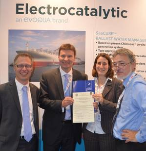 BSH presents its certification for wide range of flow rates for the previously type approved Evoqua SeaCURE Ballast Water Treatment System at SMM. L-R:  Lars Nupnau, Evoqua Director Global Business Development, Marine; Ian Stentiford, Evoqua UK Managing Director; Sabine Reuland, BSH Environmental Protection, Marine Traffic; and Ralf-Dieter Preuss, BSH Head of Environmental Issues