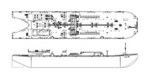 Outboard profile and arrangement drawing of Bollinger's newest design of the 55,000 BBL OPA'90 compliant clean product tank barge