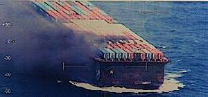 Container barge fire: Image credit USCG