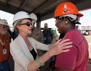 Bonnie Amos & Ingalls shipyard employee: Photo courtesy of HII
