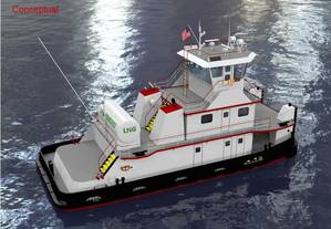 Rendering of the conversion of an inland towboat to dual fuel diesel/liquid natural gas (LNG). (Image: Bristol Harbor Group)