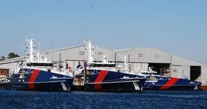 Four Cape Class Patrol Boats docked at Austal Australia in Henderson, Wash. (Photo: Austal)