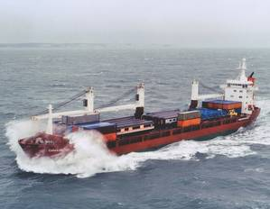Example of vessel whereby the amount of cargo carried is difficult to quantify in single MRV indicator. (Picture courtesy of Spliethoff)