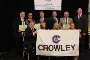 Accepting the awards on behalf of Crowley were Golonka; John Bohn, captain at Crowley's Marine Transport Lines; Wendy MacDonald, vice president, technical management; Keith Montpas, chief engineer, petroleum services; Jay Debruhl, port captain, petroleum services; Jack Andrews, technical management, and Jarrett Flynn, captain, marine services.