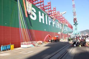 CSCL Globe is the world's largest containership and will be deployed on the Asia-Europe trade loop. (image: Courtesy of CSCL)