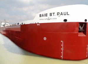 The Baie St. Paul, Canada Steamship Lines' first of four new Trillium Class self-unloading Lakers.