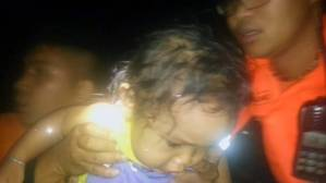 Child rescued from the ferry: Photo courtesy of Philippine Coast Guard