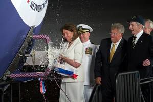 John Warner christening: Photo USN/HII by John Whalen