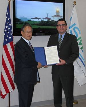 Left: Mr. Koichi Fujiwara, Class NK Vice President, and on the right is Mr. Brian T. Holden, President of USMRC.