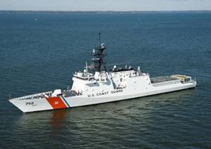 Coast Guard Cutter Stratton, the third National Security Cutter, transits the Chesapeake Bay in October, 2011. U.S. Coast Guard photo.