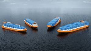 The four new Wärtsilä container feeder vessel designs (Image: Wärtsilä)