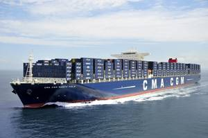 The containership CMA CGM Marco Polo underway (file image)