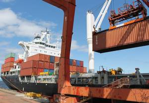 File photo: containership at dock.