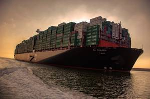 file image: a large containership underway (credit: USAC)