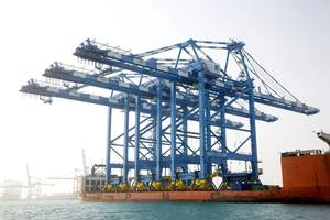 Crane arrival Khalifa Port: Photo courtesy of ADT