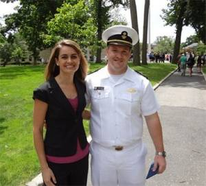 USMMA Midshipmen James Cameron and Crowleys Amelia Smith: Photo credit Crowley Maritime