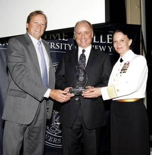 left to right: Jim Lawrence, chairman, Marine Money; Tom Crowley; and RADM Wendi B. Carpenter, USN, (Ret.), President, SUNY Maritime College.