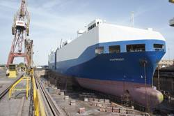 The Crowley-managed PCTC in ASRYs large 500,000 dwt graving dock in early February.