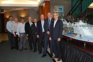 Right to left: Gregory M. Purdy, SVP, Marine Operations, Royal Caribbean International; Wayne Jones, SVP MAN PrimeServ; Carlos Pedercini, VP, Marine Operations & Global Nautical Services, Royal Caribbean International; Michael Kontny, Director Sales, MAN PrimeServ; Evangelos P. Sampanidis, Associate VP, Fleet Management, Celebrity; Leonidas Lavdas, Fleet Director, Celebrity; Kimmo Heikkila, Director, Powerplant & Technical Systems; Stiliyan Dimov, Manager, Global Marine Operations