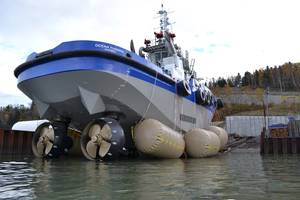 Launch of heavy tug Ocean Tundra: Photo credit Robert Allan