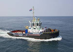 The Bernardus is Damen's first ASD 2810 Hybrid tug. (Photo: Damen)