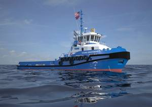 Artist rendering of Damen Stan 3011 tugs to be built by Conrad Shipyard for Young Brothers, Limited. (Image: Conrad)