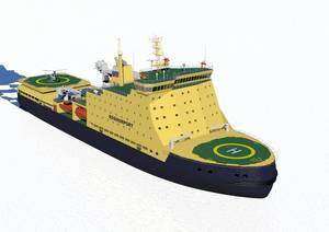 Depicted: The new icebreaker vessel under construction for Russia's state shipping company Rosmorport FSUE.