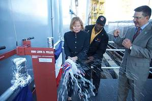 Martha Puller Downs, daughter of General Puller christens USNS Lewis B. Puller. (Photo: General Dynamics NASSCO)