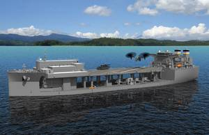 On Wednesday, January 25, General Dynamics NASSCO, a wholly owned subsidiary of General Dynamics (NYSE: GD), began construction on a fifth ship for the U.S. Navy's Expeditionary Transfer Dock (ESD)/Expeditionary Sea Base (ESB) program. (Image: General Dynamics NASSCO/USN)
