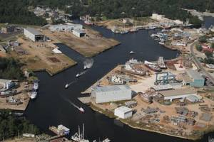 Aerial view of Horizon Shipbuilding's yard in Bayou La Batre, Ala. The new ferries will be constructed in the West Yard (visable in the upper right quadrant of the photo) . (Photo: Horizon Shipbuilding, Inc.)