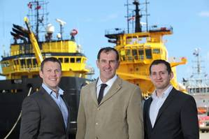 Ecosse Subsea Systems managing director, Mike Wilson, flanked by David Hunt (left) and Faris Lutfy