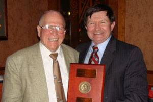 (left to right) Dr. Walter M Maclean, recipient of the 1968 Lauren S. McCready award, and Ed Waryas, Lloyds Register North America, Inc. (Photo courtesy Lloyds Register North America, Inc.)