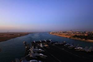 USS Enterprise Passes Through Suez: Photo credit USN